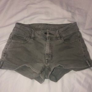 Gray american eagle high-rise shortie shorts